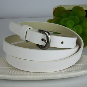 Fashionista Silver Buckle White Belt